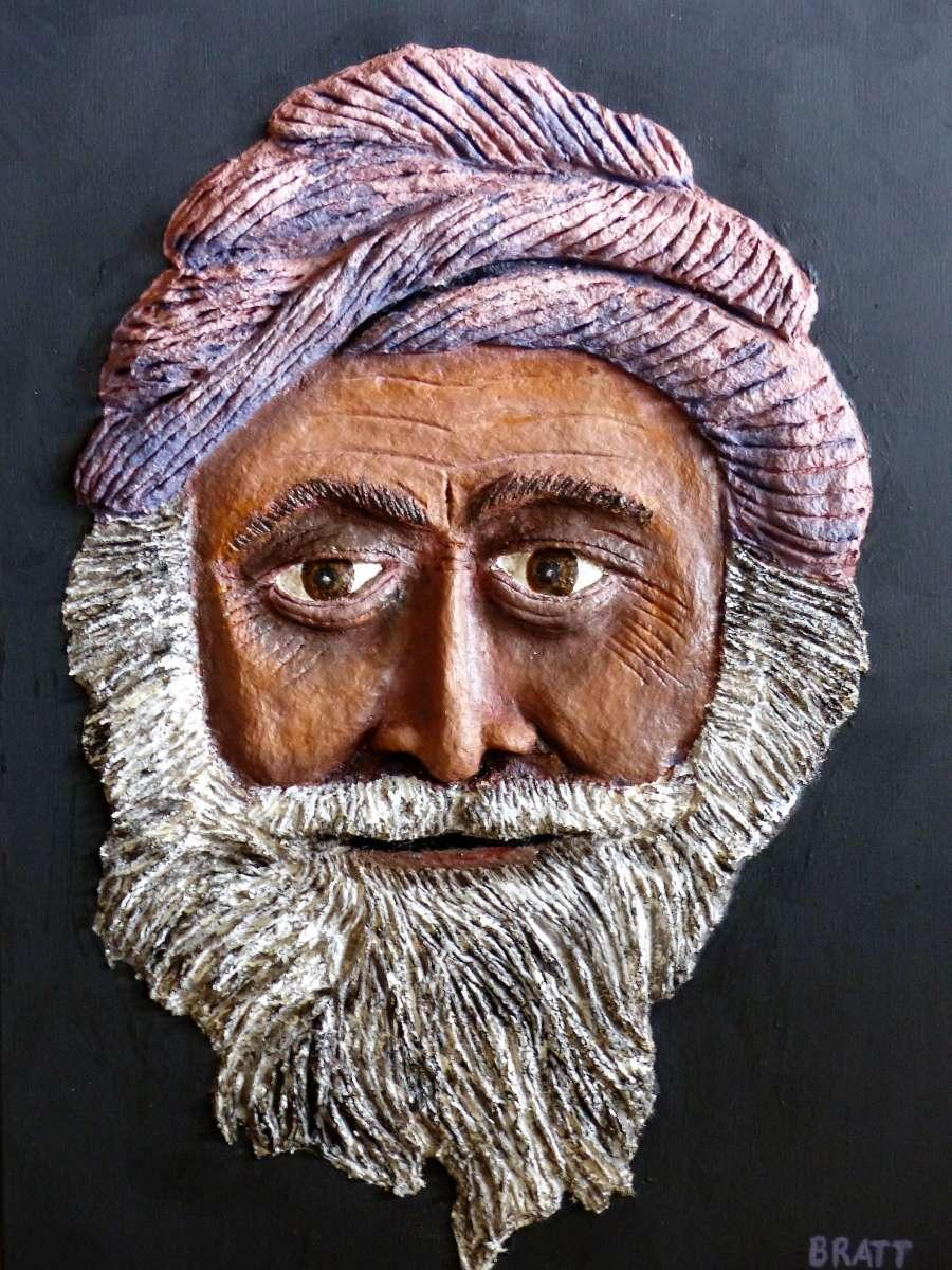 An example of paper mache' sculpted on canvas and painted